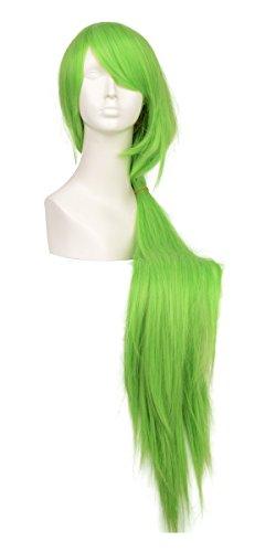 [C. J. SHOP Code Geass C. C. QUEEN 100cm long straight cosplay wig Light Green heat resistant hair with free] (Cc Code Geass Costumes)