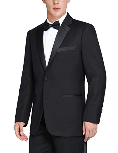 Chama Men's Single Breasted 2 Piece 2 Button Satin Notched Lapel Classic Fit & Slim Fit Tuxedo Suit (Black, 44 Regular /38 Waist)