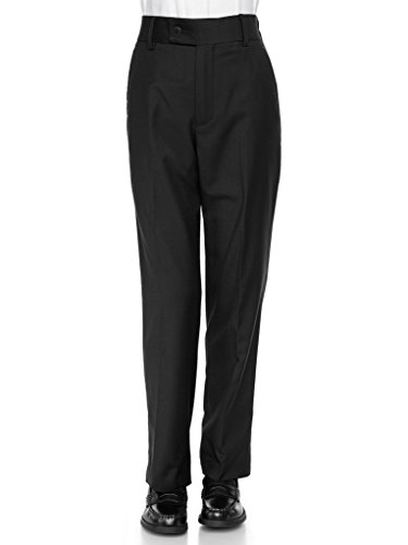 RGM Boys Dress Pants Flat-Front Slim fit Slacks - Poly Rayon Giovanni Uomo Black 7 -