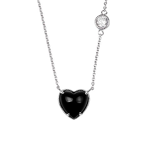 (Sterling Silver White Cubic Zirconia Black Onyx Stone Heart Shape Rhodium Plated 18