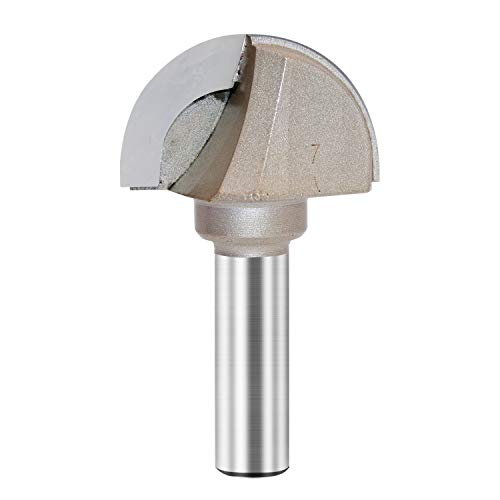 Core Box Router Bit Double Flute Round Nose Router Bit Carbide Tipped Woodworking Tool Round Groove Router Bit 7/8'' Radius x 1/2 inch Shank(1/2X1-3/4) ()