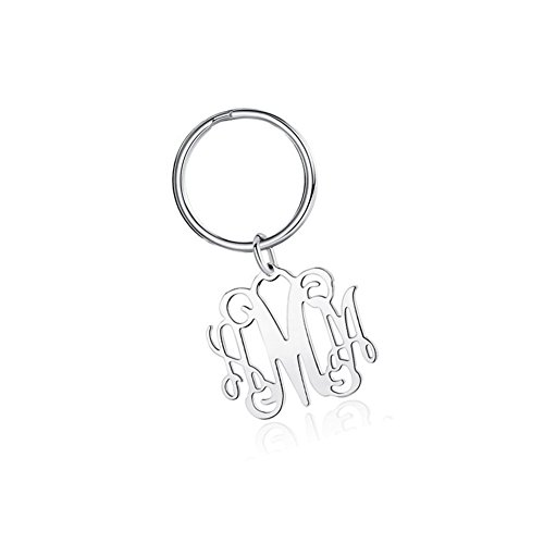 Ouslier Personalized 925 Sterling Silver Monogram Key Chain Custom Made with 3 Initials (Silver)