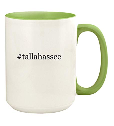 #tallahassee - 15oz Hashtag Ceramic Colored Handle and Inside Coffee Mug Cup, Light Green