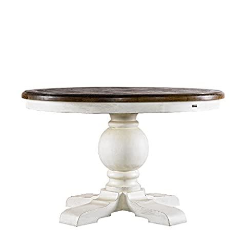 Curations 8831.2201.M 48'' Round Trestle Vintage White Table Not Applicable, Natural Oak - 48 Round Pedestal Dining Table
