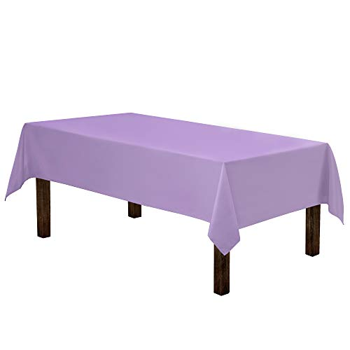 Gee Di Moda Rectangle Tablecloth - 60 x 84 Inch - Lavender Rectangular Table Cloth for 5 Foot Table in Washable Polyester - Great for Buffet Table, Parties, Holiday Dinner, Wedding & More