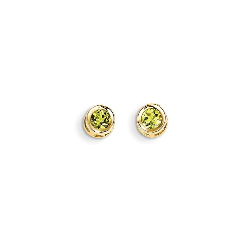 Bezel Peridot Stud Earrings (14k Yellow Gold Birthstone 4mm Bezel August Peridot Post Earrings)