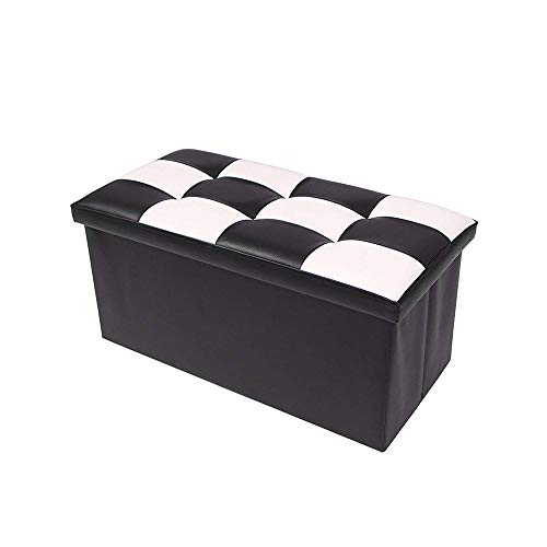 Storage Ottoman, Faux Leather Ottoman Coffee Table and Cube Storage Bench, Foot Rest Stool/Seat with Seat Cushion, Classic Versatile Storage Box (Black and White) ()
