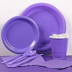 Purple Plastic Party Pack For 20 by ShindigZ