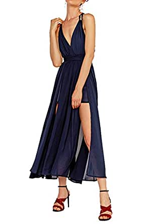 Amazon.com: Cupshe vestido de fiesta sin espalda con cuello ...