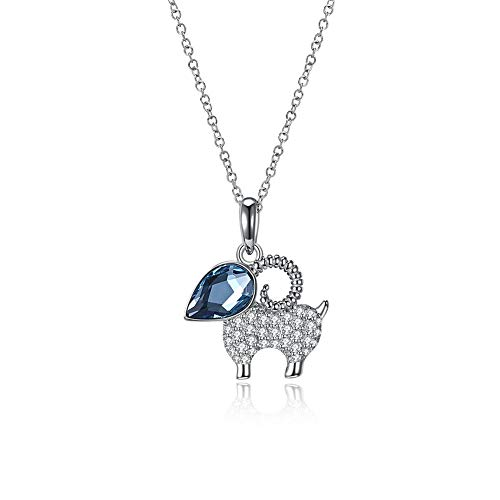 (Birthday Gifts Women 925 Sterling Silver Necklace with Cute Goat Pattern Swarovski Crystals Pendant, Gifts for Girlfriend Wife Mom)