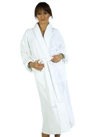 Unisex Terry Loop Heavyweight Cotton Spa Bathrobe, Long, White, One Size
