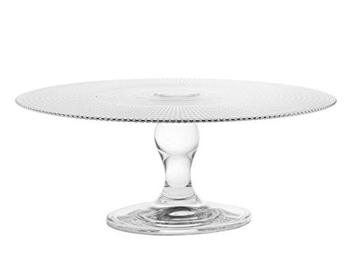 axentia Car Bomboniere Centro de Mesa Alto de Cristal Transparente con Adorno geometrico en Relieve, Diametro de 28 cm y Altura de 11 cm, Transparente