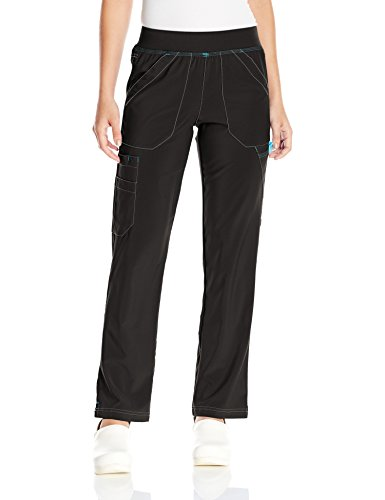 Carhartt Women's Cross-Flex Straight Leg Knit Waist Cargo Scrub Pant, Black, Small