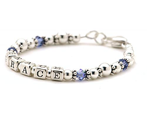 Lily Brooke Personalized Mommy Bracelet - Sterling Silver Beads & Birth Month ()