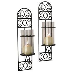 Danya B. QBA568-1 Danya B. Decorative Metal Black Iron Wall Mount Filigree Candle Sconces with Clear Glass Inserts – Set of 2