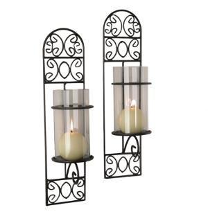 - Danya B. QBA568-1 Danya B. Decorative Metal Black Iron Wall Mount Filigree Candle Sconces with Clear Glass Inserts - Set of 2