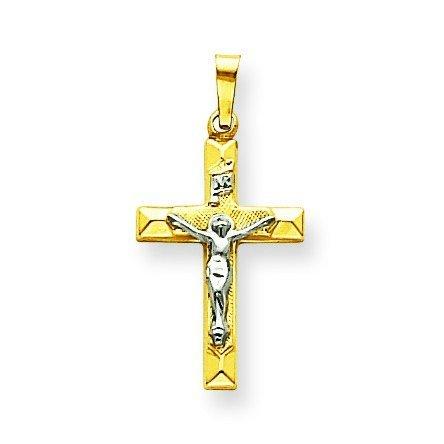 14 carats-Bicolore-Pendentif creux Crucifix INRI-Dimensions :  20 x 13 mm-JewelryWeb