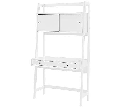 - Wood & Style Office Home Furniture Premium Landon Wall Desk - White