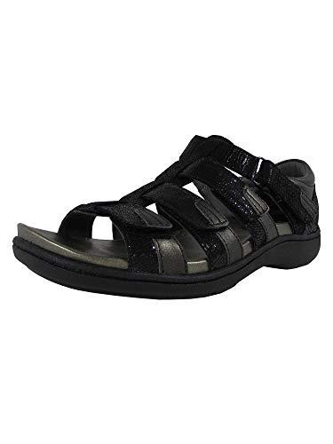 Aravon Women's Bromly Gladiator Sandal, Black, 8 B US (Footbed Removable)
