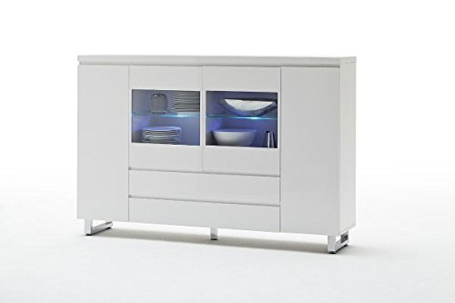 kommode highboard mit t ren schubladen hochglanz weiss. Black Bedroom Furniture Sets. Home Design Ideas