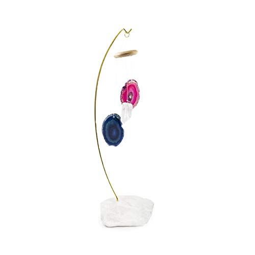 (Beverly Oaks Wind Chime Desk Stand with Blue Agate, Pink Agate, Clear Quartz and Clear Quartz Base ~ Desk Chime Featuring Healing Crystals and Wooden Halo)