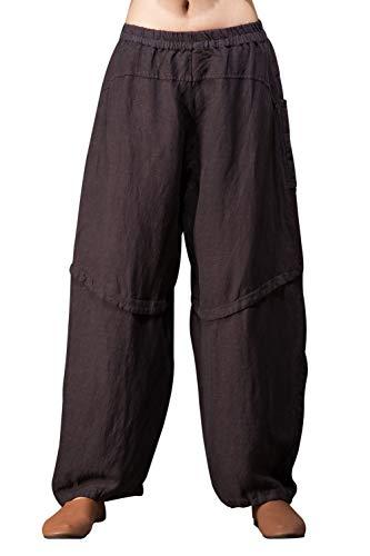 (Outline Women's Vintage Linen Harem Pants Comfy Soft Trousers with Pockets)