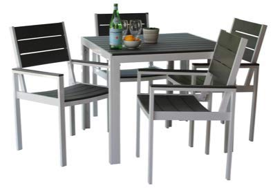 MARKT Supply Co Hand-Made, All Weather Outdoor Furniture, Premium 5-Piece Patio Dining Set | Palisades Collection | White w/Gray Wood (Wood Dining Patio Set White)