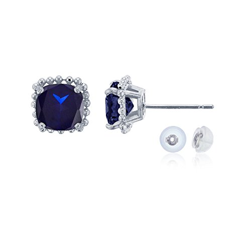 White Sapphire Frame Ring - 14K White Gold 6x6mm Cushion Cut Created Blue Sapphire Bead Frame Stud Earring with Silicone Back