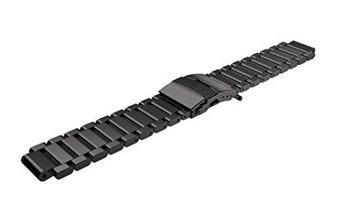 kingko® fitness tracker Metall Edelstahl Uhrenarmband Bügel für Garmin Forerunner 220 230 235 630 620 735 (Schwarz)