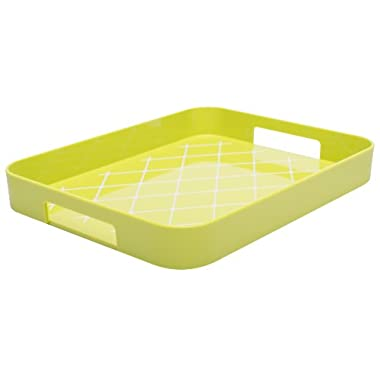 Zak! Designs Half Gallery Tray with Non-skid Detail on Tray Surface, Easy to Hold Handles, BPA-free Plastic, , 13  x 10 1/2 , Kiwi and White