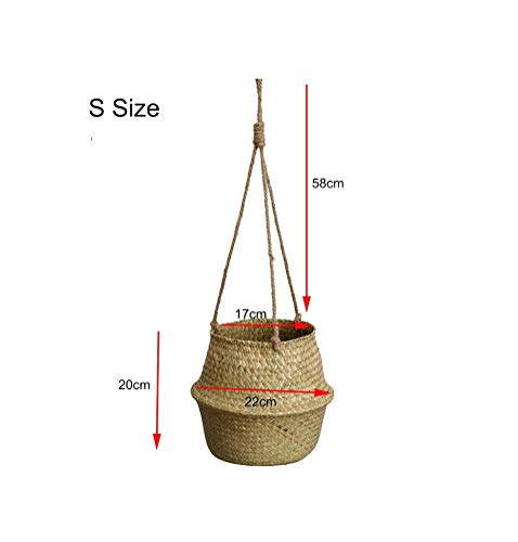 Foldable Flower Hanging Basket Handmade Flowerpots Wicker Baskets Rattan Storage Basket Kids Toys Organizer Laundry Hamper,S