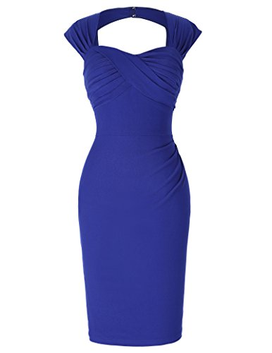 Ruched Open Back Dress (Knee-Length Pinup Ruched Bodice Open Back Vintage Banquet Dresses Size 10 BP155-5)