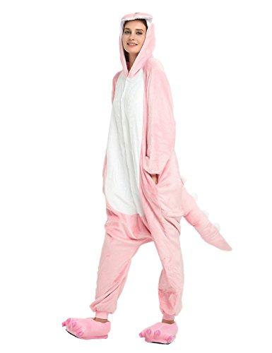 Animal Pajamas for Women Men Adult Onesie Unisex Sleepwear Halloween Cosplay Costume (S, Pink) ()