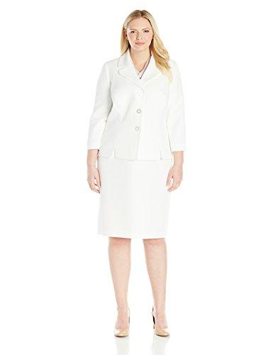 Le Suit Women's Plus Size Pique 3 Button Jacket Skirt, Vanilla Ice, 22W