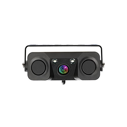 Car Backup Camera, 3-in-1 170 Degree Wide View HD Auto Reverse Rear View Camera 2 LED Night Vision Waterproof with 2 Radar Parking Sensor Buzzer (CLPZ451)