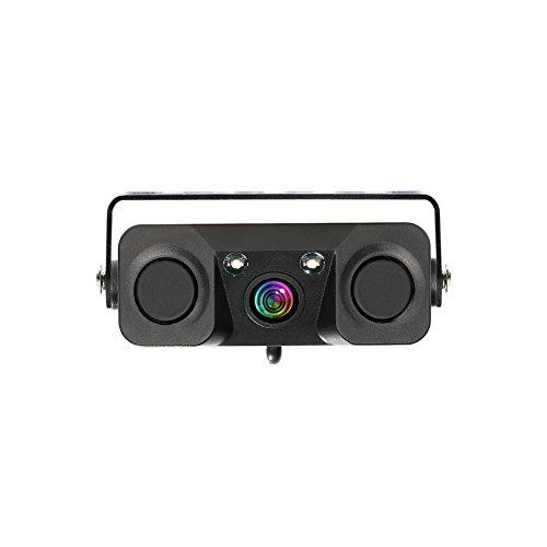 Car Backup Camera, 3-in-1 170 Degree Wide View HD Auto Reverse Rear View Camera 2 LED Night Vision Waterproof with 2 Radar Parking Sensor Buzzer (View Sensor)