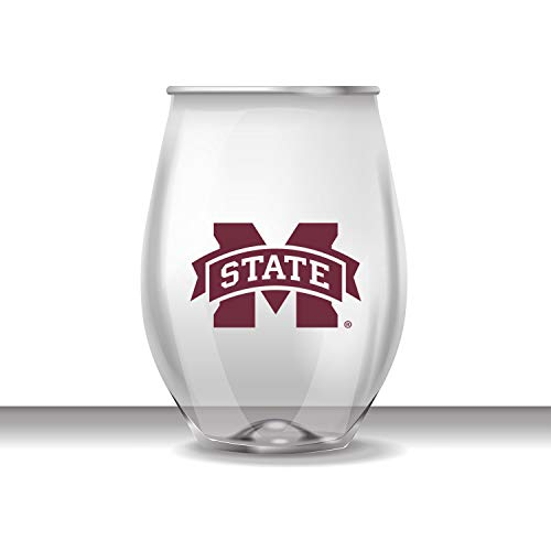Mississippi State Bulldogs Team Glass - JAYMAC Mississippi State Stemless Shatterproof Heavy Duty Wine or Beverage Glass Set of 4