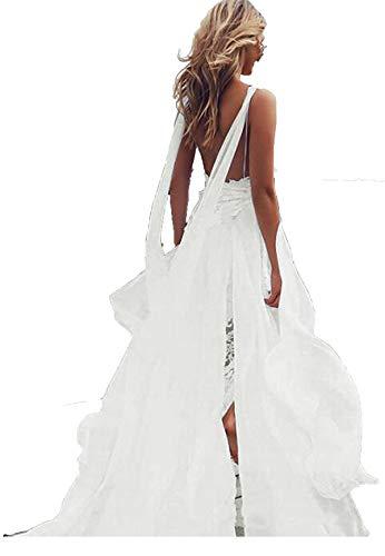 Veilace Women's Lace Beach Wedding Dress High Split Chiffon A-line Backless Bridal Gowns Ivory