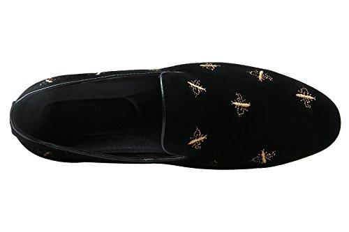 de bordada Moda Mocasines cordones redonda Casual Zapatillas sin hombre bee Zapatos para gamuza Black Punta Mocasines Santimon Xq4Rtt