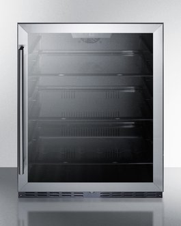 Summit AL57G Built-in Undercounter ADA Compliant All-Refrigerator with Glass Door, Black Cabinet, Door Storage, Lock, and Digital (Summit Glass Undercounter Refrigerator)