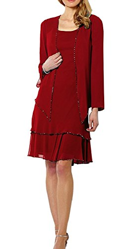 Short Mother of Two Dress DMDRS Women's with 2 Style Bugundy Bride Pieces Lace Jacket XHxqEww6Y