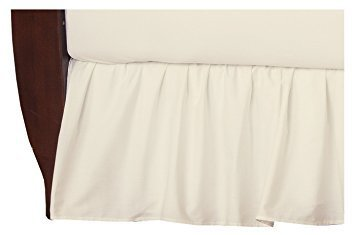 Bed Ruffle Skirt Soft Smooth Microfiber Bed Wrap with Platform Easy Fit Gathered Style 3 Sided Coverage Queen Size,Ivory for Natural Draping 15 Inch by Ras Decor Linen