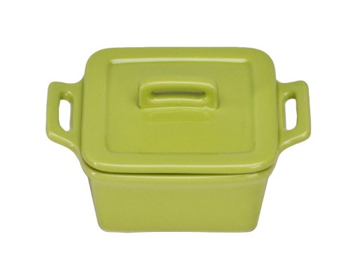 Covered Square Stoneware Baker (Omniware 1172051 Square Mini Bakers with Lids, Set of 4, Citron)