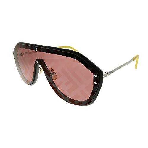 Fendi Men FF M0039/G/S KB7 7Y Grey Plastic Shield Sunglasses Red Fendi Print ()