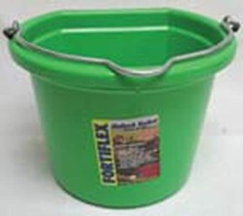 Fortiflex Flat Back Feed Bucket for Dogs Cats and Small Animals, 8-Quart, Mango Green