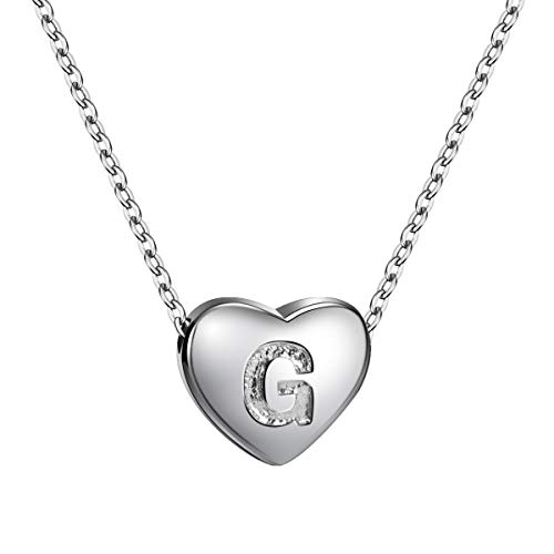 Sterling Silver Love Letter Charm - Dainty Heart Initial Necklace S925 Sterling Silver Letters G Alphabet Pendant Necklace Birthday Gift for Daughter
