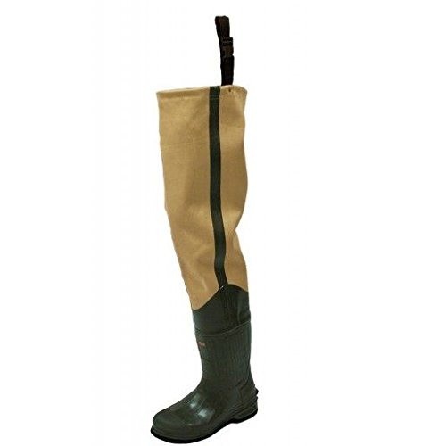Frogg Toggs Bull Frogg 3-ply PVC Canvas Bootfoot Hip Wader, Cleated Outsole, Khaki, Size 13
