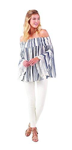 Mud Pie Womens Kristin Off-The-Shoulder Summer Top, White & Navy Stripe, Size Small/Med
