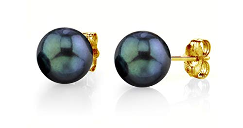 (THE PEARL SOURCE 14K Gold 6-6.5mm Round Black Cultured Akoya Stud Pearl Earrings for)