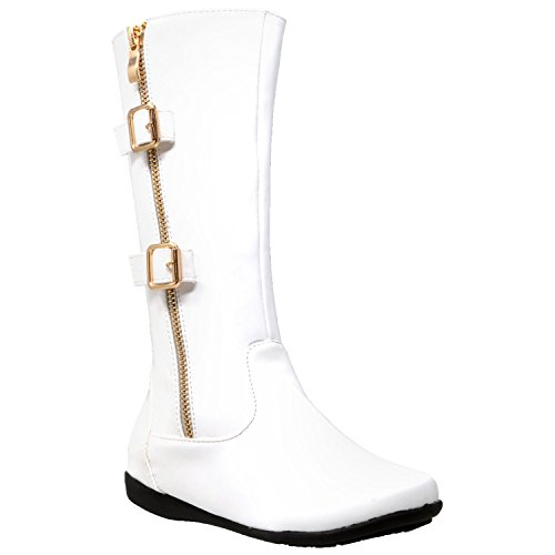 Gold Trim Boots (Generation Y Kids Boots Knee High Girls Faux Leather Zipper Trim Gold Buckle Riding Shoes White SZ 1)